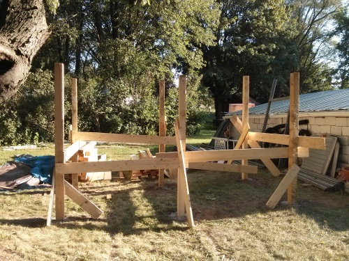 Uprights of a chicken coop